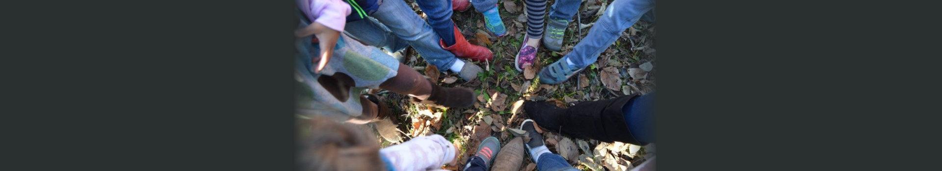 Feet of group of people